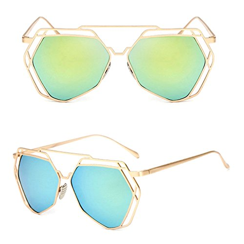 Niceskin Retro Cat Eye Sunglasses Shades for Women, PC and Metal (Gold&Yellow - Lennon Color Eye John