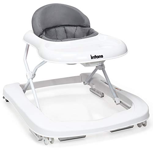 INFANS Foldable Baby Walker for Boys and Girls, 2 in 1 Toddler Walker Learning-Seated or Walk-Behind, Adjustable Speed Rear Wheels, Safety Bumper, Detachable Seat Cover, Anti-Rollover (Grey)