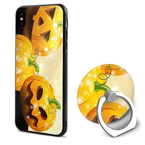 Barton Apple iPhone Xs Case(2018) / iPhone X Case(2017) + Finger Ring Stand Holder 360 Degree Rotating Combo Set - Halloween Pumpkin ()