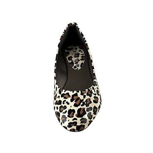 Westbalv Frauen Casual Ballett Flat Leopard Patent