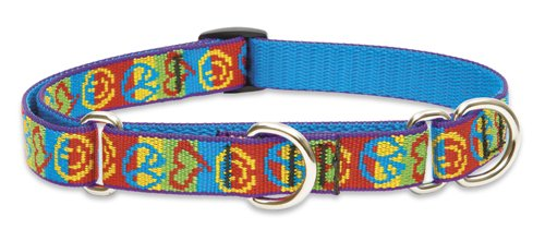 LupinePet 3/4-Inch Peace Pup 14-20-Inch Martingale Combo Collar for Medium to Large Dogs