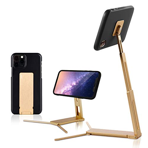 Lookstand + Detach Mount Gold Adjustable Cell Phone Stand Compatible with iPhone & Android - Cell Phone Holder for Bed | iPhone Holder iPhone Stand for Video | Desk Phone Stand for Recording