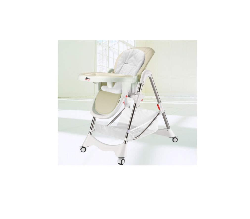 ベビーダイニングチェアファッションシンプルで安定した安全折りたたみポータブル調節可能なスライド式ベビーチェア (色 : ベージュ, サイズ さいず : 56*76*105cm) 56*76*105cm ベージュ B07RKN3S4Q