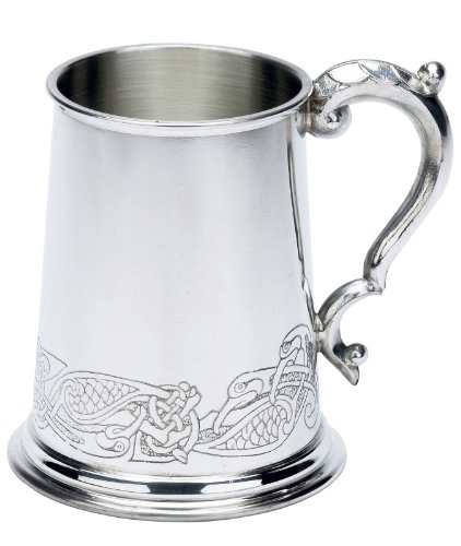 Fancy Celtic Design Fine English Pewter Tankard Beer Mug Made in England