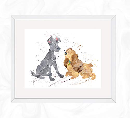 - Lady and the Tramp Prints, Lady and the Tramp Disney Watercolor, Nursery Wall Poster, Holiday Gift, Kids and Children Artworks, Digital Illustration Art