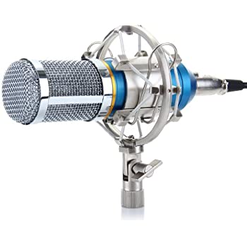 Excelvan BM-800 Condenser Studio Recording Microphone and Shock Mount Holder Blue