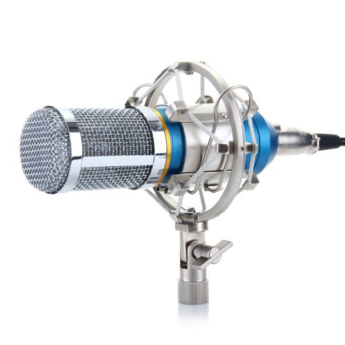 Excelvan Condenser Recording Microphone with Shock Mount Holder, Blue Desktop Recording Microphone