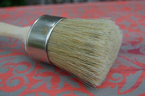 Chalkology - Oval Paint and Wax Brush, Medium,Professional Chalk Paint Wax Brush | Painting or Waxing | Annie Sloan Dark & Clear Soft Wax | Furniture, Stencils, Folkart, Home Decor, Wood