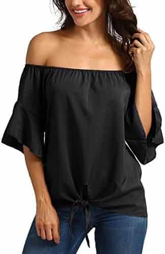 b432dcfd0c38 iYBUIA Women Striped Off Shoulder Print Waist Tie Blouse Short Sleeve  Casual T Shirts Tops