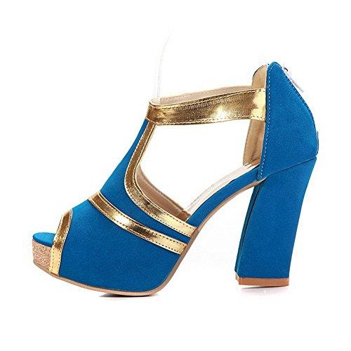 Amoonyfashion Mujeres High Heels Material Suave Color Surtido De Cremallera Peep Toe Sandalias Azul