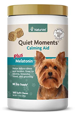 NaturVet - Quiet Moments Calming Aid for Dogs - Plus Melatonin | Helps Reduce Stress & Promote Relaxation | Great for Storms, Fireworks, Separation, Travel & Grooming