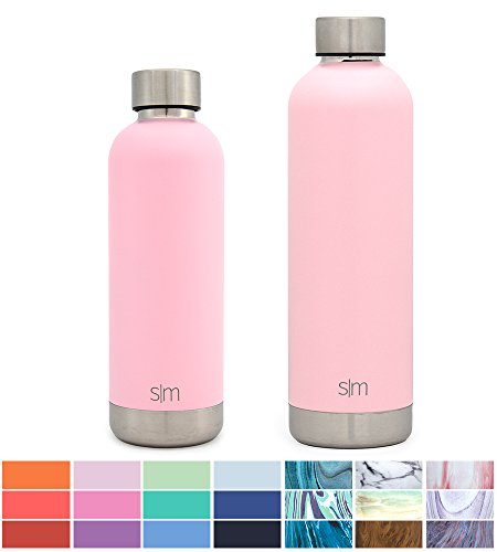 Simple Modern 12oz Bolt Water Bottle - Stainless Steel Hydro Kids Flask - Double Wall Vacuum Insulated Reusable Pink Small Metal Coffee Tumbler Leakproof Thermos - Blush (Steel Bottle Water Stainless)