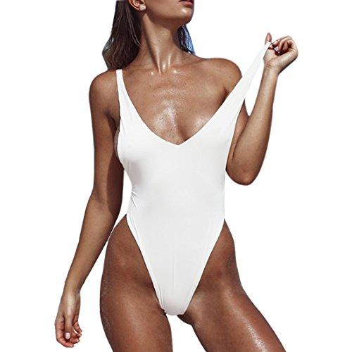 QIYUN.Z Mujeres Profundo V-Cuello Backless Playa De Verano Playas De Una Pieza Swimsuits Traje De Baño Blanco