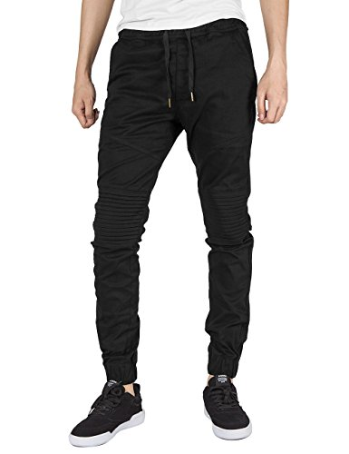 Italy Morn Men Chino Jogger Casual Pants Biker Jogging Twill Khakis Slim Black (M, Black)