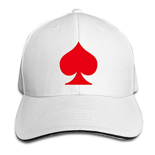 Unisex Classic Ace of Spades Peak Cap Cotton Baseball Hat for Mens and Womens White ()