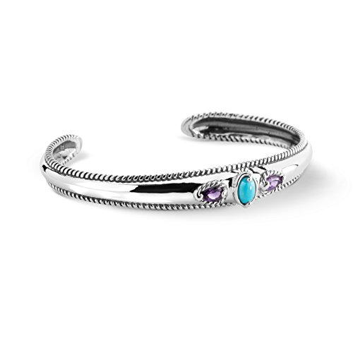 Carolyn Pollack Sterling Silver Sleeping Beauty Turquoise and Amethyst 3-Stone Cuff Bracelet Size Large - Genuine Turquoise Stone Jewelry