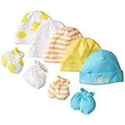Gerber Unisex-Baby Newborn Bears Caps and Mitten Bundle, Bears, New Born (Pack of 5 and 4)