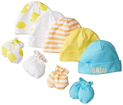 Gerber Baby-Boys Newborn 5 Pack Caps (0-6 months) and 4 Pack Mitten (0-3 months) (Infant Hat Mittens)