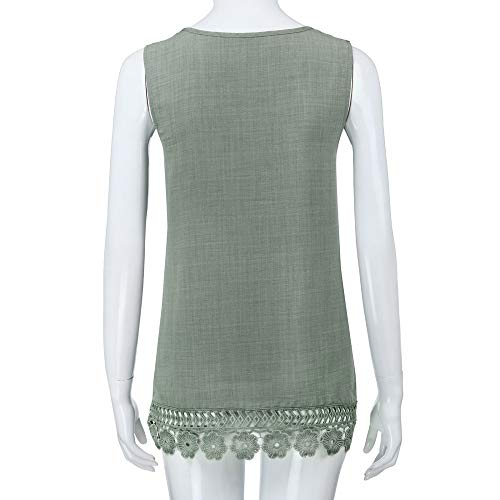 iYBUIA Women O-Neck Sleeveless Pure Color Lace Plus Size Vest Loose T-Shirt Blouse with Hollow Hem Green by iYBUIA (Image #4)