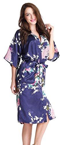 Aibrou Satén Kimono Pijamas Mujer, 3/4 Manga Camisón lenceria mujer, Elegante Cómoda Larga Pijama Para Casa,Dormir. Azul oscuro