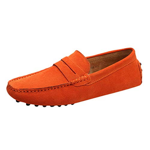 Boss Orange Lace Up Sneakers - JJLIKER Men's Penny Loafers Moccasin Non-Slip Driving Boat Shoes Comfort Pure Color Fashion Casual Slip On Flats Shoes