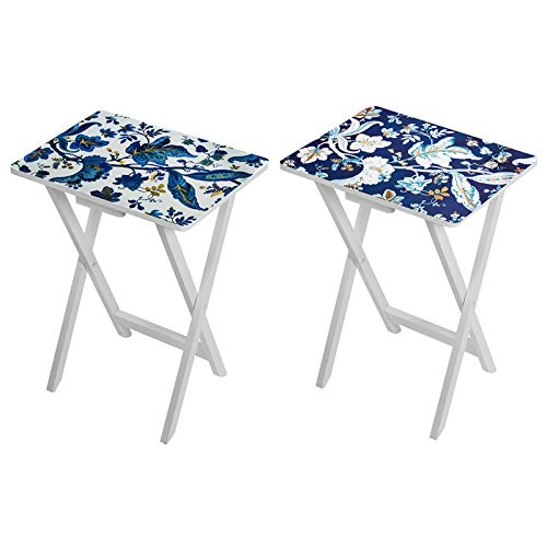 Evergreen Blue Floral Set of Two TV Trays by Evergreen