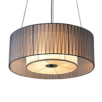 SOUTHPO Fabric Shade Pendant Lighting Modern Double Drum Round LED Pendant Lamp Light Cloth Cover Cylindrical Hanging Lights Metal Chandeliers for Bedrooms Dining Rooms Girls Room,4×E26,Blue-Gray