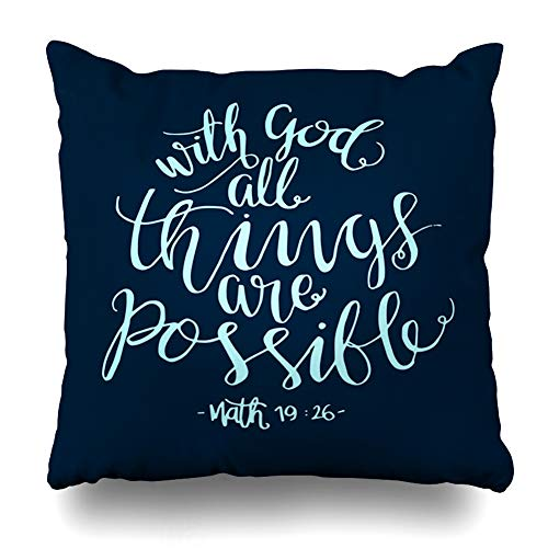 Ahawoso Throw Pillow Cover Possible Christian All Things Quote Modern are Matthew Bible Verse God Believe Biblical Christ Design Decor Zippered Cushion Case 16