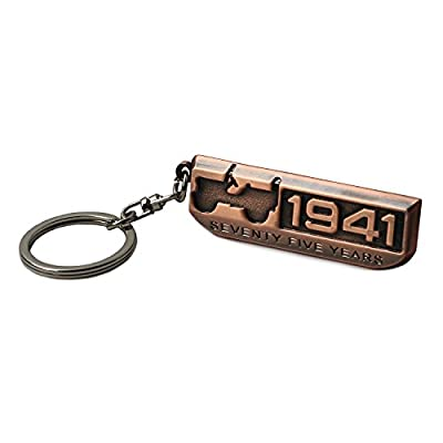 LROEZR 75 Anniversary 3D Font Grill Keychain Chain Key Ring for Jeep Driver Enthusiast Automotive Laser Cut Metal Emblem Keyring Red Bronze(1941-2016): Automotive