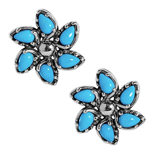 Carolyn Pollack Sterling Silver & Sleeping Beauty Turquoise Floral Pinwheel Earrings ()