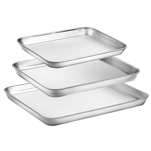 Baking Sheet Set of 3, Zacfton Stainless Steel Cookie Sheet Set 3 Pieces Toaster Oven Tray Pan Rectangle Size Non Toxic & Healthy,Superior Mirror Finish & Easy Clean, Dishwasher Safe (Chefmate Oven Toaster)