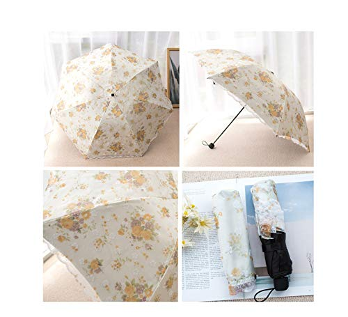 Double Sunscreen Umbrella UV Protection Small Fresh Lace Flower Folding Rain Umbrella,color19