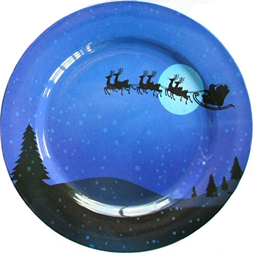 Christmas Serving Plate Santa Reindeer Melamine Dinnerware ()