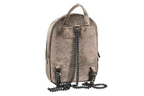 Tasche damen rucksack schulter PIERRE CARDIN taupe samt mit offnung zip VN920