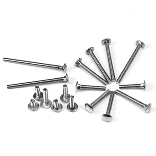 MroMax Silver Tone M8 x 25mm 1.25mm Pitch Round Cap Head Stainless Steel Square Neck Bolts 20Pcs