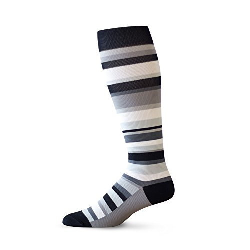 TOP & DERBY Unisex 15-20 mmHg Graduated Compression Socks, Random Stripes (Large, Beetle Suit)