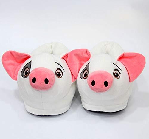 Femmes Imprimés Bottes Intérieur En Pantoufles Coton Cochon Blanc Belle Chaussures Maison D'animaux Jouet Peluche D'hiver 7WUqHn