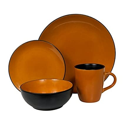 Corelle Hearthstone Stoneware Round 16-Piece Set Service for 4 Cumin Orange  sc 1 st  Amazon.com & Amazon.com | Corelle Hearthstone Stoneware Round 16-Piece Set ...