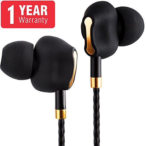 Dual Driver Earbuds - In Ear Headphones IMPROVED Zeus Bass Earbuds with Microphone - 3.5mm Portable Cordless Receiver Headphone - Bass Boost Gaming Earbuds with Extension Cord - Earbuds for Man Women