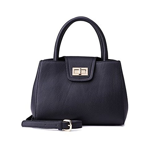 Voglly Women's Classic Simple Solid Turn Lock Handbag With Shoulder Strap V0760571