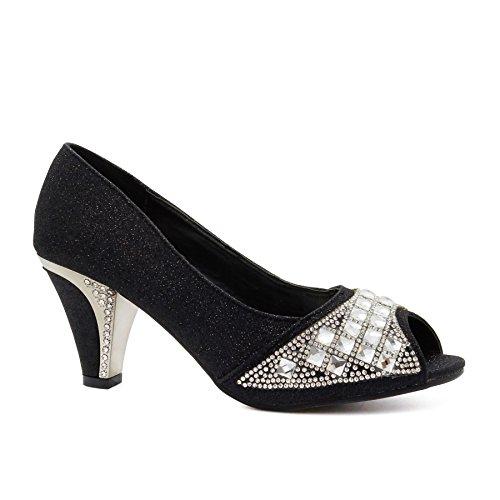 New Womens Low Mid Kitten Heels Diamante Bridal Court Shoes Ladies Wedding Prom Size UK 3-8 Black e9Cb29iAg