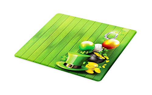 - Ambesonne St. Patrick's Day Cutting Board, Wood Design with Shamrock Lucky Clovers Pot of Gold Coins and Horse Shoe, Decorative Tempered Glass Cutting and Serving Board, Large Size, Fern Green