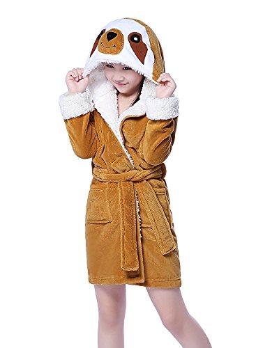NEWCOSPLAY Children's Animal Hooded Pajamas Bath Robe (8Y/10Y, Sloth)