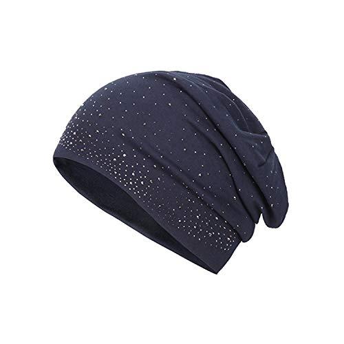 Vogue Bonnet - Autumn Winter Knitted Hat Women's Vogue Rhinestone Bonnet Cotton Blends Hat Casual Solid Skullies Beanies Navy Blue