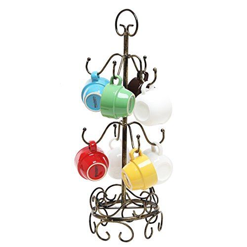 8 Hook Bronze Metal Coffee Mug Tree Air Drying Stand / Tea Cup Rack / Glass Holder -MyGift (Tree Cup)