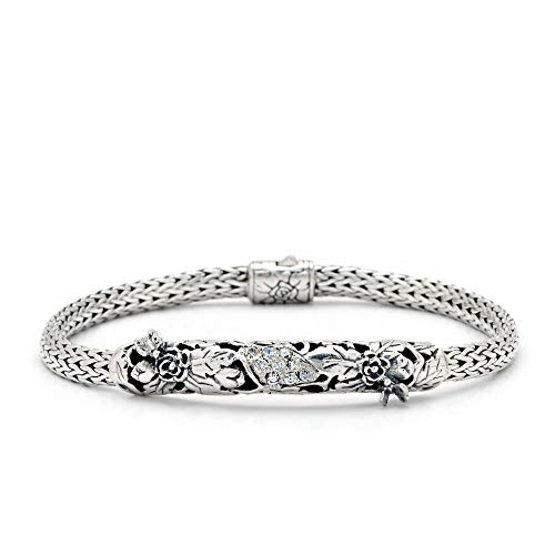 Deni Jewelry Sterling Silver 925 Bracelet with Rose and Butterfly Motif, Setting with Cubic Zirconia. Chain tulang naga 3x5 mm, Size 7.5