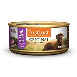 Instinct Original Grain Free Real Rabbit Recipe Natural Wet Canned Dog Food by Nature's Variety, 5.5 oz. Cans (Case of 12)