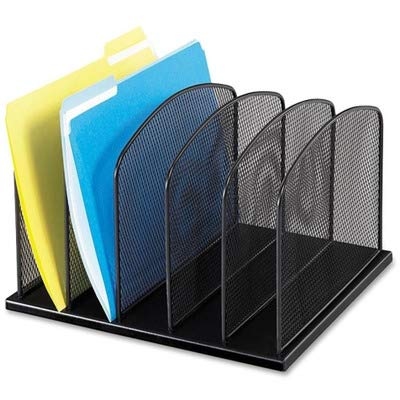- Safco Products - Safco - Mesh Desk Organizer, 5 Sections, Steel, 12 3/8w x 10 7/8d x 15 5/8h, Black - Sold As 1 Each - Large-capacity 2