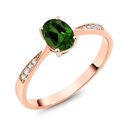 Gem Stone King 10K Rose Gold Diamond Ring with 0.86 Ct Oval Green Chrome Diopside (Size 6)