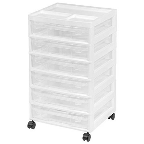 IRIS 6-Case Scrapbook Storage Cart, White by IRIS USA, Inc.